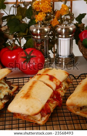 Various toasted submarine sandwiches with chicken, beef, melted cheese, vegetables, and marinara sauce. - stock photo