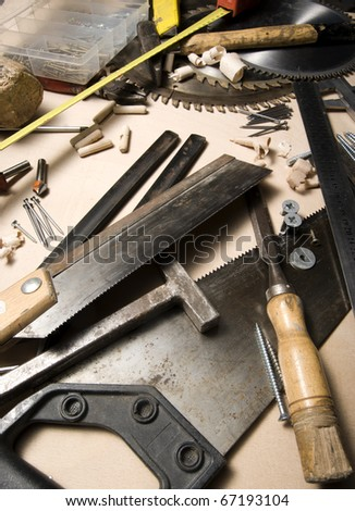 various tools and instruments on wood board.