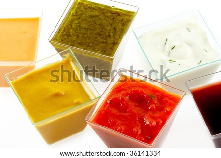 various type of colorful sauces