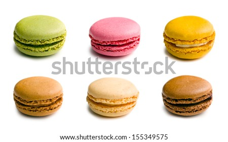 various type of macaroons on white background - stock photo