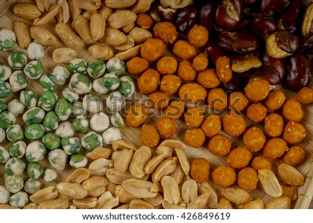 Various type of nuts in the basket. DOF and copy space.