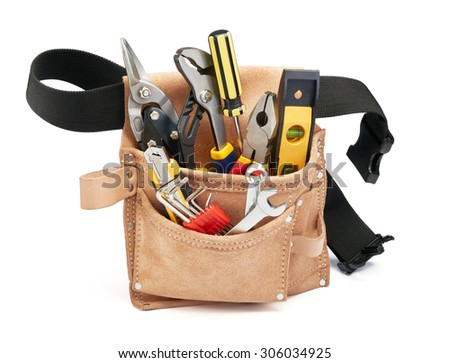 various type of tools in tool belt - stock photo