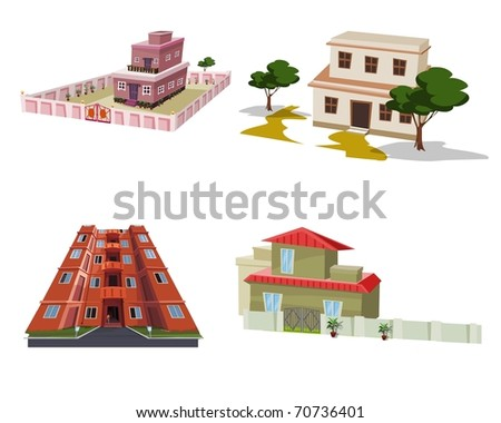 Various types of building apartments - stock photo