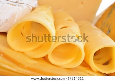 Various types of cheese composition isolated on white background - stock photo