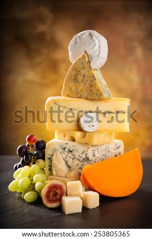 Various types of cheese, still-life. - stock photo