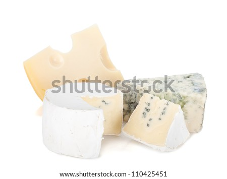 Various types of cheeses. Isolated on a white background. - stock photo