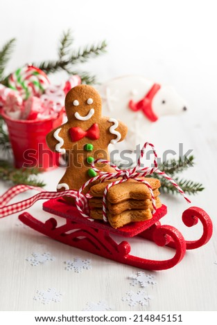 Various types of Christmas decorative gingerbread - stock photo