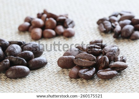 Various types of Coffee Beans - stock photo