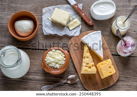 Various types of dairy products - stock photo