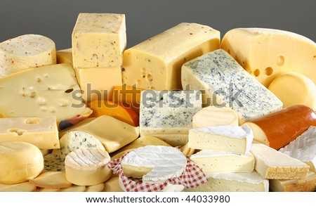 Various types of delicious cheese close up - stock photo