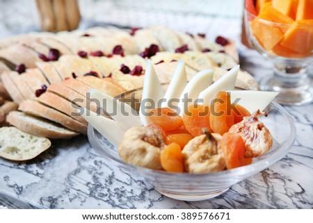 Various types of fresh Cheeses  - stock photo
