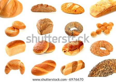 Various types of freshly baked bread, isolated - stock photo