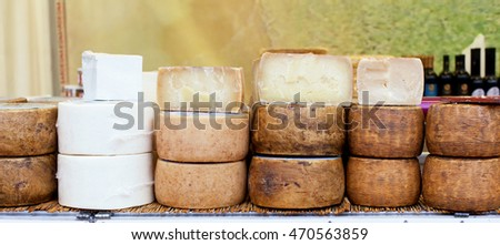 Various types of Italian cheeses for sale.