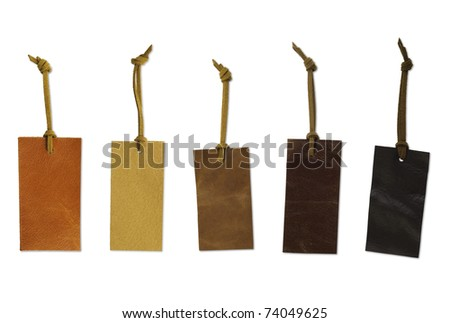 Various types of leather price tag. Clipping path included. - stock photo