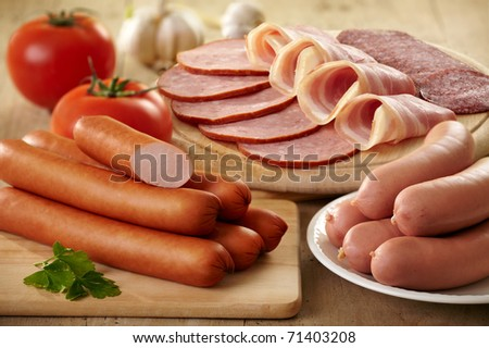 various types of sausages - stock photo