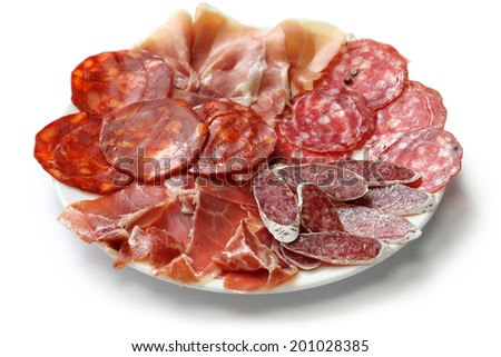 various types of  spanish salami, sausage and ham. fuet galidad, jamon serrano, chorizo, salchichon and jamon iberico - stock photo