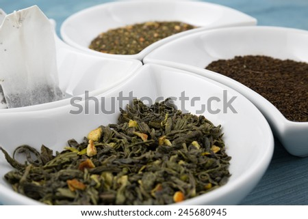 Various types of tea.Small depth of field