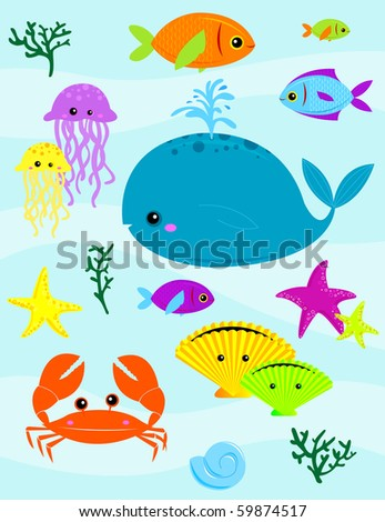 Various underwater creatures - RASTER (vector version also available) - stock photo