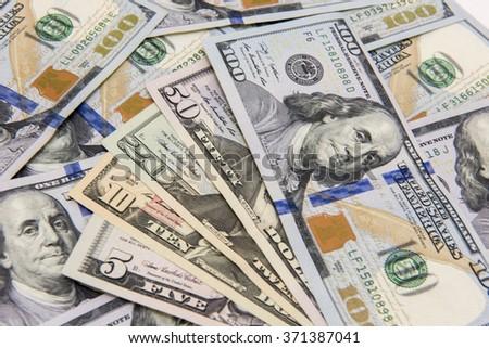 Various US dollar banknotes  - stock photo