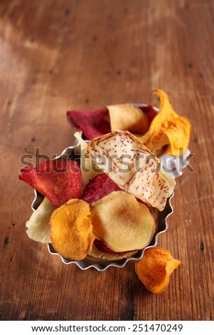 various vegetable chips - stock photo