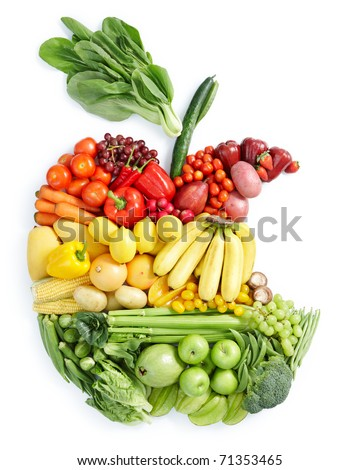 various vegetables and fruits in eaten apple shape - stock photo
