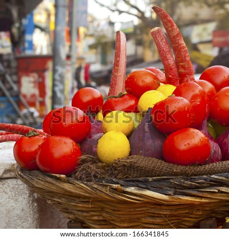 Various vegetables for juice at vegetable market. India  - stock photo