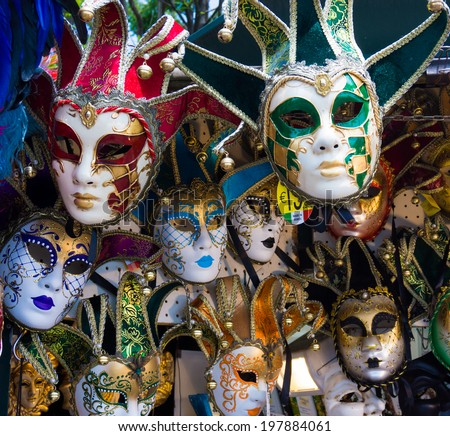 Various venetian masks on sale .  colorful artistic masks on the Carnival of Venice