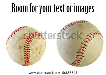 various views of a baseball, isolated on white