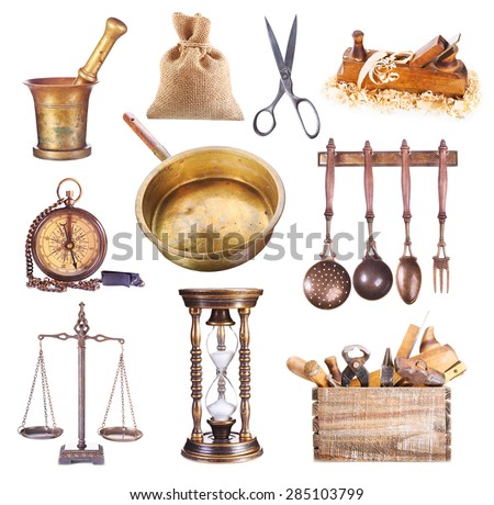 various vintage objects isolated on white background - stock photo