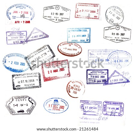 Various visa stamps from passports from worldwide travelling - stock photo
