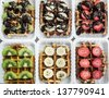 various waffles, brussels, belgium (banana, chocolate, kiwi, strawberry) - stock photo