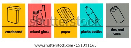 Various waste recycling, collecting signs - stock photo