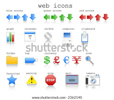 Various web icons in jpg format with internet theme. Vector format available. - stock photo