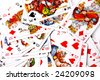 various white playing cards abstract background - stock photo