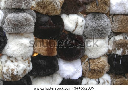 Various Winter Hats Made From Rabbit Fur - stock photo