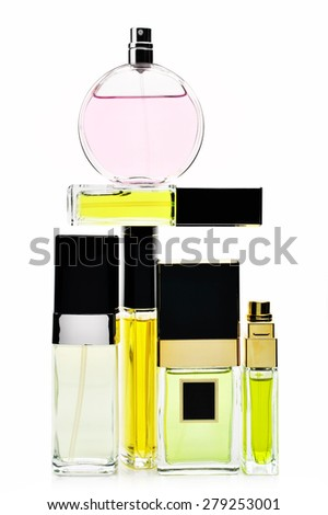 Various woman perfumes set isolated on white background. - stock photo