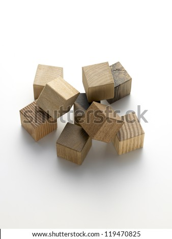 various wooden cubes on a white background - stock photo