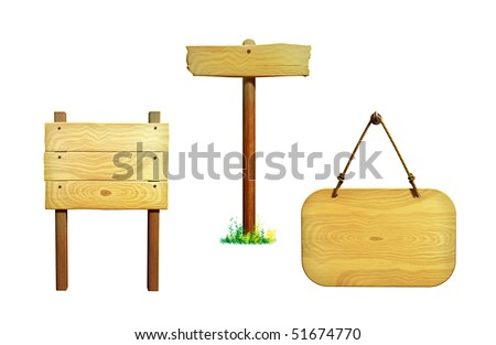 Various wooden signs, clipping path included. Digital illustration. - stock photo