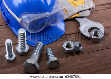 Various worker safety equipment  isolated - stock photo