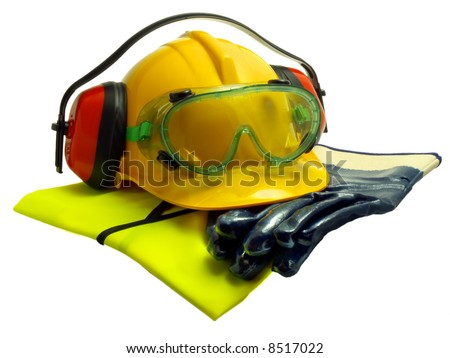 Various worker safety equipment or gear isolated on white - stock photo