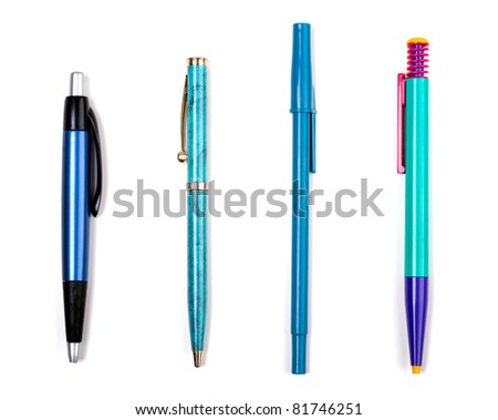 Various writing instruments isolated on white background