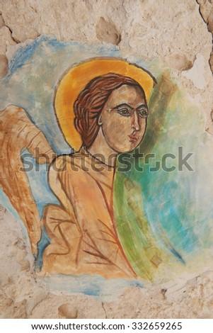 VARNA, BULGARIA, 20.10.2015: Angel painting in the church in Aladzha Monastery in Bulgaria - stock photo