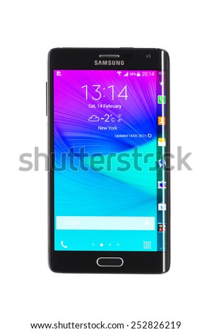Varna, Bulgaria - February 14, 2015: Studio shot of a black Samsung Galaxy Note Edge smartphone, with 16 mP Camera, quad-core 2,7 GHz and 5.6inch Curved edge screen display, 1600 x 2560px resolution. - stock photo