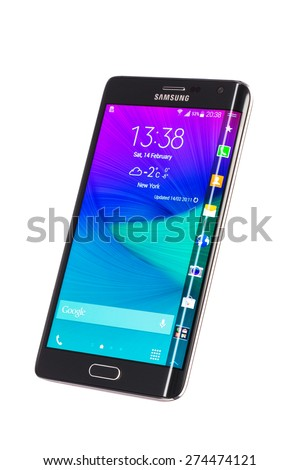 Varna, Bulgaria - February 14, 2015: Studio shot of a black Samsung Galaxy Note Edge smartphone, with 16 mP Camera, quad-core 2,7 GHz and 5.6inch Curved edge screen display, 1600 x 2560 px resolution. - stock photo