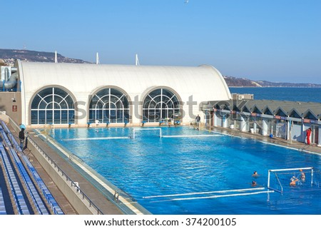 Olympic size pool stock images royalty free images - Swimming pool water treatment plant ...