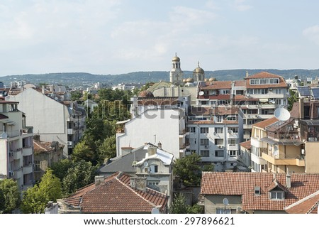 Varna, Bulgaria - July 12, 2015: view of cathedral of Varna and the city of Varna in Bulgaria