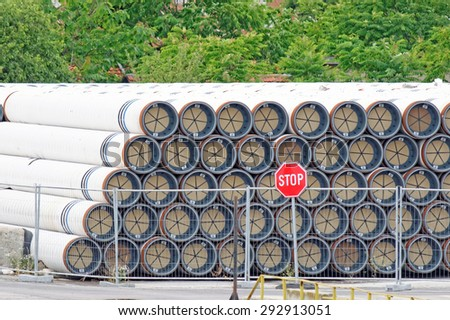 Varna, BULGARIA - June 21, 2015: Gas pipes of large diameter at Port of Varna ready for the South Stream - planned gas pipeline to transport Russian natural gas through the Black Sea to Europe. - stock photo