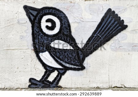 Varna, BULGARIA - June 21, 2015: Street art by unknown artist of a sparrow.  - stock photo