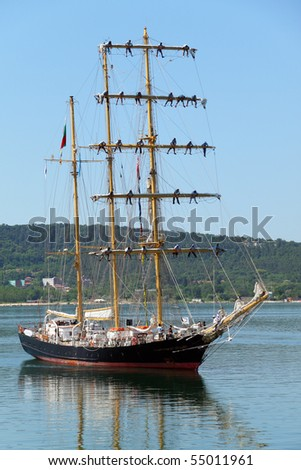 VARNA, BULGARIA - JUNE 11: The Bulgarian barquentine Kaliakra is returning to her home Port of Varna, after taking part in Historical seas Tall ships Regatta 2010 on June 11, 2010 in Varna, Bulgaria.