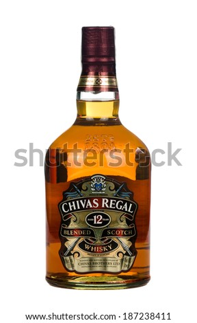 VARNA; BULGARIA-MARCH 02.2014: Photo of a botle of Chivas Regal , 12 years old scotch whiskey.Chivas Regal is a blended Scotch whisky produced by Chivas Brothers, owned by Pernod Ricard.